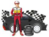 Female formula one driver and car