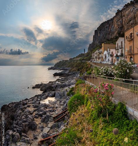 Plexiglas Palermo Cefalu coast sunrise view Sicily, Italy.