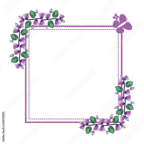 Beautiful Flower Floral Wreath Square Frame Flat Illustration