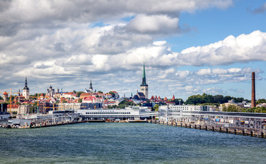 Beautiful cityscape, Tallinn, the capital of Estonia, view of the city from the sea, travel to the Baltic states and Scandinavian countries