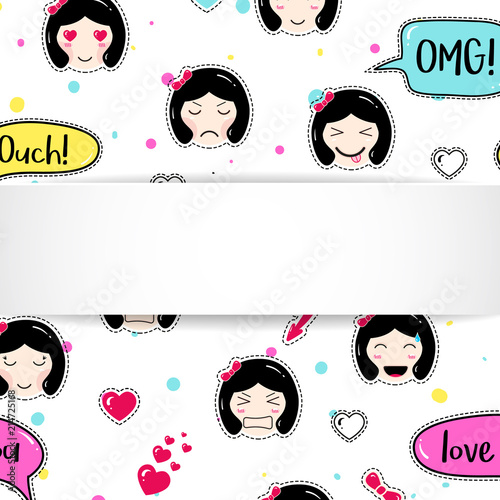 girl banner with anime emoji pattern cute stickers with emoticon