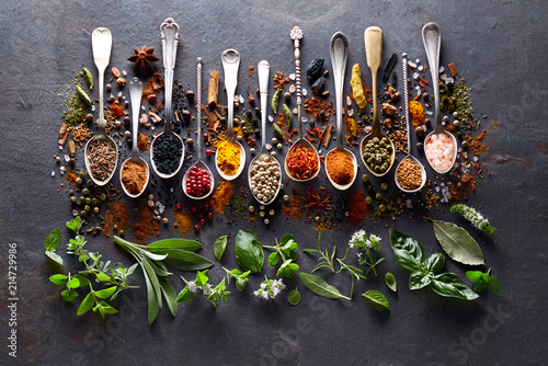 Herbs and spices on black board © Dionisvera