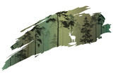 a fragment of the background with a forest and a deer for your design. Vector illustration