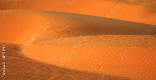 Canvas Oranje eclat sandy dune at Big Sahara desert. Tunisie. Africa