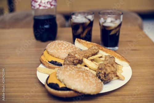 Big plate of junk food - 214742396