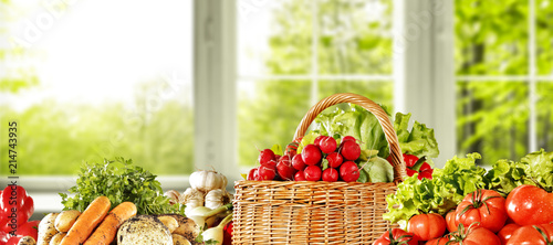 fresh vegetables background and window background.