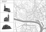 Bratislava city map with hand-drawn architecture icons
