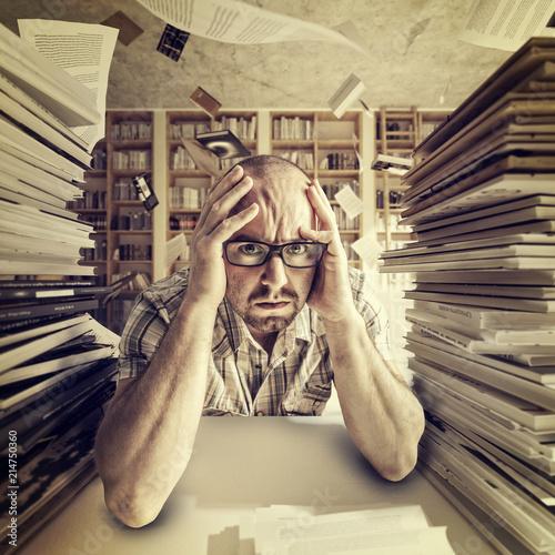 Leinwandbild Motiv stressed student portrait