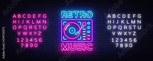 In de dag Vintage Poster Retro Music neon sign vector. Retro Music Design template neon sign, Retro Style 80-90s, celebration light banner, gramophone neon signboard, nightly advertising. Vector. Editing text neon sign