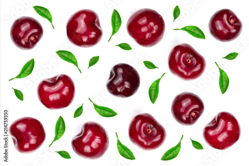Foto Murales Sweet red cherries isolated on white background with copy space for your text. Top view. Flat lay pattern