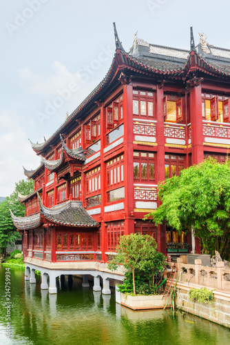 Scenic traditional red Chinese building in Shanghai, China