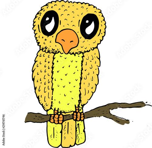 Fotobehang Uilen cartoon Hand Drawn Doodle Sketch Vector of a Bird Chick
