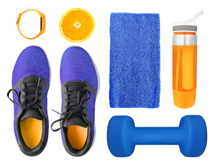 Top view of sport accessories and equipment for fitness and training. Running shoes, dumbbell, water bottle etc. isolated on white background. Healthy lifestyle concept © lilkin