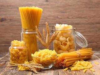 various of raw pasta