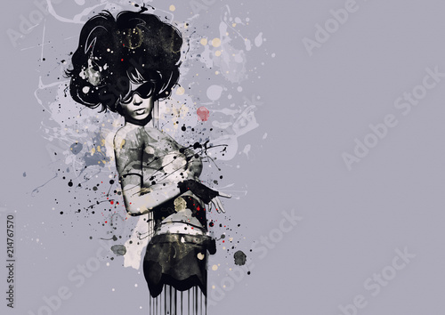 Fototapeta samoprzylepna Fashion woman in style of cabaret. Watercolor illustration, grunge fashion