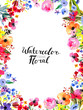 Leinwandbild Motiv Watercolor Floral Background. Hand painted border of flowers. Good for invitations and greeting cards. Frame isolated on white and brush lettering. Rose, poppy and peony illustration Spring blossom