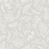 Vector elegant seamless background with foliage. Wedding endless  pattern in light grey color. Leaves in line art style. - 214778108