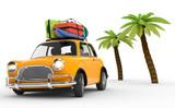 3D Auto mit Gepäck Urlaub