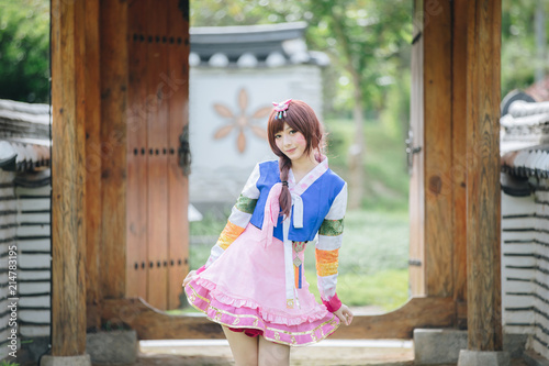 Aluminium Seoel Portrait of Hanbok costume young woman looking and smile in korean park
