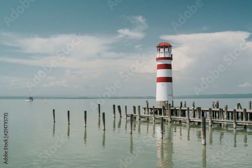 Canvas Vuurtoren Lighthouse in Podersdorf am See, lake Neusiedler See, Burgenland, Austria