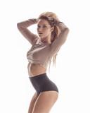 Beuatiful female dancer. White background - 214795116
