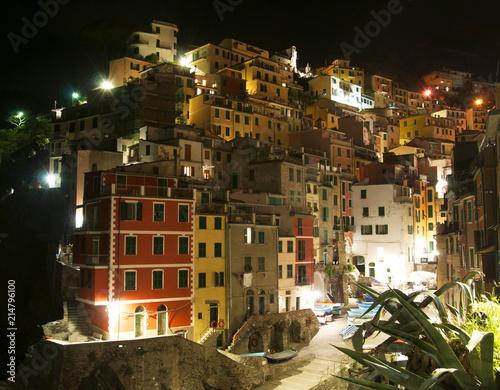Fotobehang Liguria Riomaggiore village by night, Liguria, Italy