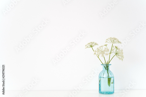 Minimal Indoor Interior Transparent Blue Vase With Aegopodium
