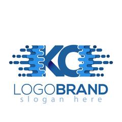 KO Letter Pixel Icon Vector Logo element. Initial Letter speed logo template