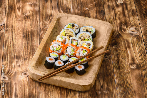 Canvas Sushi bar Sushi on a wooden table