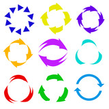 Circle arrow icon. Refresh and reload arrow icon. Rotation vector arrows set. Vector illustartion - 214810505
