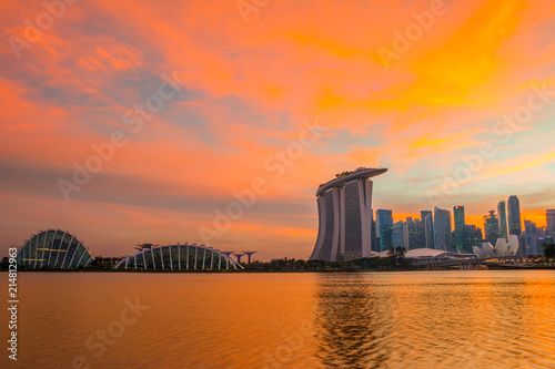 Sticker Colorful Sunset Sky over Singapore