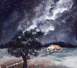 Watercolor Milky Way and Single House - 214821162