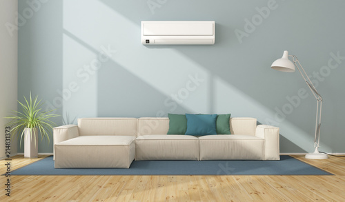 Modern Living Room With Air Conditioner
