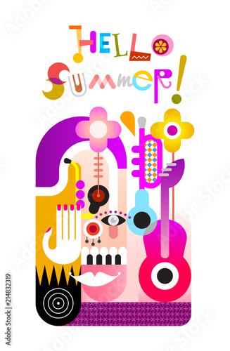 In de dag Abstractie Art Hello Summer vector illustration