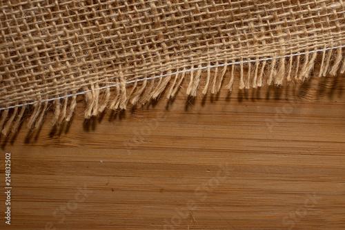 Canvas Bamboe Stoff als Hintergrund auf Holz