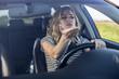 Leinwandbild Motiv Angry woman driving a car.