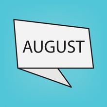 August Word On Sticker  Illustration Sticker