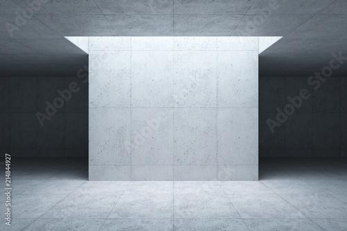 Leinwanddruck Bild blank concrete space interior, 3d rendering