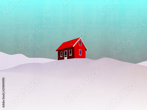 Foto Spatwand Lichtblauw house in winter landscape illustration - red house on hill