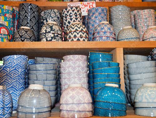 Selling Porcelain Bowls in Market Shop