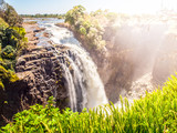 Victoria Falls on Zambezi River. Dry season. Border between Zimbabwe and Zambia, Africa.