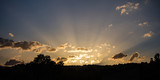 Sunrise sunbeams through the clouds from the horizon, banner, copy space, wallpaper.