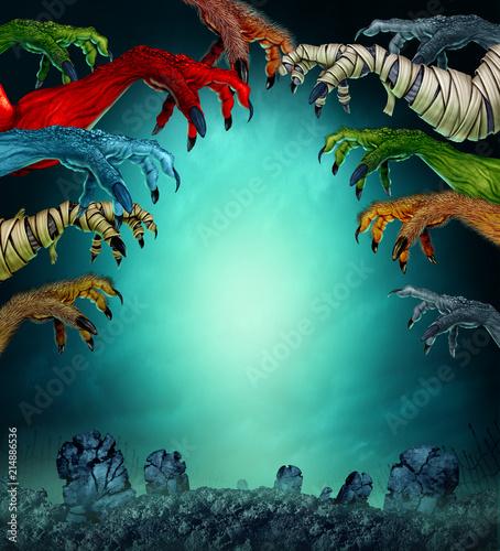 Leinwandbild Motiv Monsters In A Spooky Graveyard
