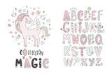 Unicorn vector sweet cute illustration. Magic fantasy design. Cartoon rainbow animal isolated horse. Fairytale unicorn print poster. - 214898501