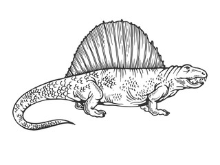 Dimetrodon dinosaur engraving vector illustration