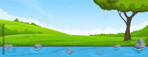 Aluminium Blauw Summer landscape. Riverbank and tree