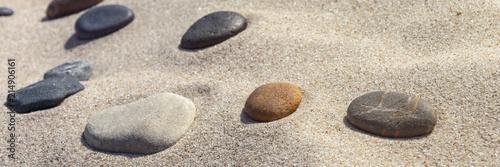 Plexiglas Zen Stenen beautiful stones different colours on the sand