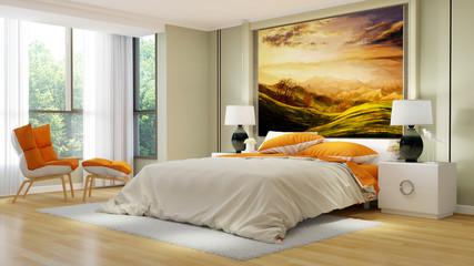 Elegantes Hotelzimmer mit Doppelbett