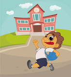 boy with a backpack on the background of the school. vector