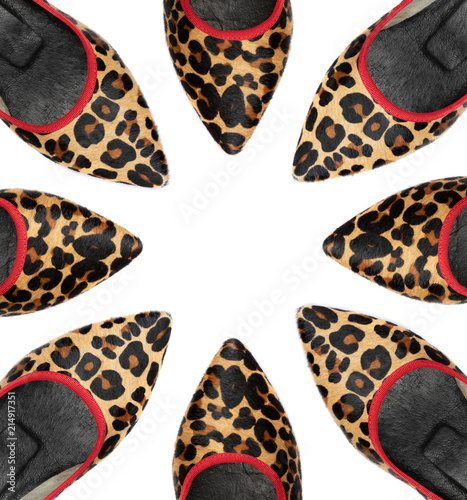 Plexiglas Panter Leopard woman shoes on white background with space to insert your text here